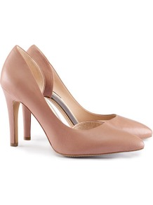 Leather Court Shoes - predominant colour: camel; occasions: evening, work, occasion; material: leather; heel height: high; heel: stiletto; toe: pointed toe; style: courts; finish: plain; pattern: plain
