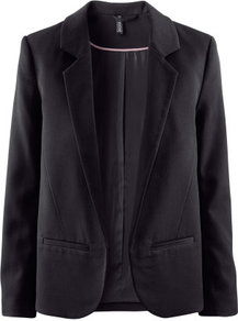 Jacket - pattern: plain; style: single breasted blazer; collar: standard lapel/rever collar; predominant colour: black; occasions: casual, evening, work, occasion; length: standard; fit: straight cut (boxy); fibres: polyester/polyamide - stretch; sleeve length: long sleeve; sleeve style: standard; trends: tuxedo; collar break: low/open; pattern type: fabric; pattern size: standard; texture group: woven light midweight