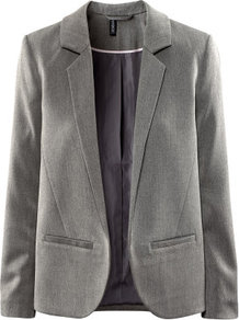 Jacket - pattern: plain; style: single breasted blazer; collar: standard lapel/rever collar; predominant colour: mid grey; occasions: casual, work; length: standard; fit: straight cut (boxy); fibres: polyester/polyamide - mix; sleeve length: long sleeve; sleeve style: standard; collar break: low/open; pattern type: fabric; pattern size: standard; texture group: woven light midweight