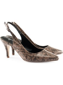 Slingbacks - predominant colour: camel; occasions: evening, work, occasion; material: faux leather; heel height: high; ankle detail: ankle strap; heel: stiletto; toe: pointed toe; style: slingbacks; finish: patent; pattern: animal print