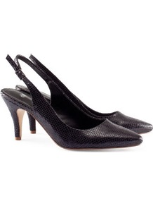 Slingbacks - predominant colour: black; occasions: evening, work, occasion; material: faux leather; heel height: high; ankle detail: ankle strap; heel: stiletto; toe: pointed toe; style: slingbacks; finish: patent; pattern: animal print