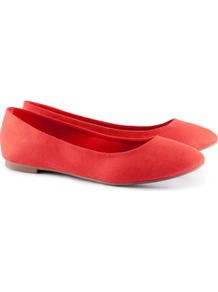 Ballet Pumps - predominant colour: bright orange; occasions: casual, work; material: faux leather; heel height: flat; toe: round toe; style: ballerinas / pumps; finish: plain; pattern: plain