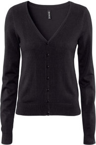 Cardigan - neckline: low v-neck; pattern: plain; bust detail: buttons at bust (in middle at breastbone)/zip detail at bust; predominant colour: black; occasions: casual, work; length: standard; style: standard; fibres: cotton - mix; fit: standard fit; sleeve length: long sleeve; sleeve style: standard; texture group: knits/crochet; pattern type: knitted - fine stitch; pattern size: standard