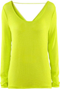 Jumper - neckline: low v-neck; pattern: plain; back detail: cowl/draping/scoop at back; style: standard; predominant colour: lime; occasions: casual, evening; length: standard; fibres: polyester/polyamide - stretch; fit: standard fit; sleeve length: long sleeve; sleeve style: standard; texture group: knits/crochet; trends: fluorescent; pattern type: knitted - fine stitch