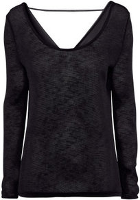 Jumper - neckline: round neck; pattern: plain; back detail: cowl/draping/scoop at back; length: below the bottom; style: standard; predominant colour: black; occasions: casual, evening; fibres: polyester/polyamide - stretch; fit: standard fit; sleeve length: long sleeve; sleeve style: standard; texture group: knits/crochet; pattern type: knitted - fine stitch