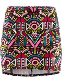 Skirt - length: mini; fit: tight; waist: mid/regular rise; predominant colour: pink; occasions: casual, evening; style: mini skirt; fibres: cotton - stretch; trends: modern geometrics; pattern type: fabric; pattern size: big & busy; pattern: patterned/print; texture group: jersey - stretchy/drapey
