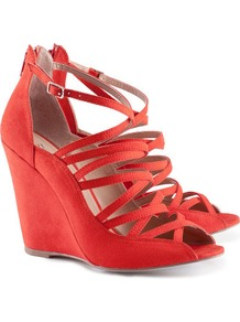 Sandals - predominant colour: true red; occasions: evening, occasion; material: fabric; heel height: high; ankle detail: ankle strap; heel: wedge; toe: open toe/peeptoe; style: strappy; finish: plain; pattern: plain