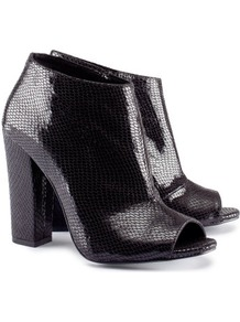 Boots - predominant colour: black; occasions: casual, evening, work; material: faux leather; heel height: high; embellishment: zips; heel: block; toe: open toe/peeptoe; boot length: shoe boot; style: standard; finish: metallic; pattern: animal print