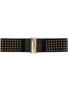 Belt - predominant colour: black; occasions: casual, evening, work; type of pattern: small; style: elasticated; size: wide; worn on: waist; material: fabric; embellishment: studs; pattern: plain; finish: plain