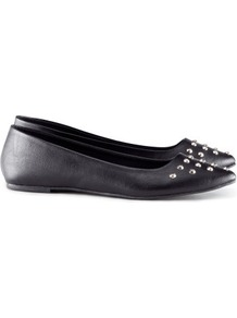 Ballet Pumps - predominant colour: black; occasions: casual, evening, work; material: faux leather; heel height: flat; embellishment: studs; toe: pointed toe; style: ballerinas / pumps; finish: plain; pattern: plain