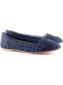 Ballet Pumps - predominant colour: navy; occasions: casual, holiday; material: fabric; heel height: flat; toe: round toe; style: ballerinas / pumps; finish: plain; pattern: plain