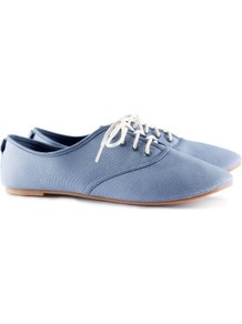 Shoes - predominant colour: pale blue; occasions: casual, work; material: fabric; heel height: flat; toe: round toe; style: brogues; finish: plain; pattern: plain