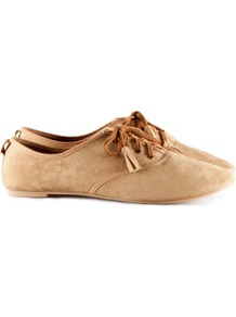 Shoes - predominant colour: camel; occasions: casual, work; material: fabric; heel height: flat; embellishment: tassels; toe: round toe; style: brogues; finish: plain; pattern: plain