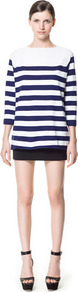 Wide Stripe Sweater - neckline: slash/boat neckline; pattern: horizontal stripes; style: standard; predominant colour: navy; occasions: casual, work; length: standard; fibres: cotton - mix; fit: standard fit; back detail: longer hem at back than at front; sleeve length: 3/4 length; sleeve style: standard; texture group: knits/crochet; pattern type: fabric; pattern size: standard