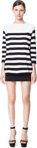 Wide Stripe Sweater - neckline: slash/boat neckline; pattern: horizontal stripes; length: below the bottom; style: standard; predominant colour: black; occasions: casual, work; fibres: cotton - mix; fit: loose; sleeve length: 3/4 length; sleeve style: standard; texture group: knits/crochet; pattern type: fabric; pattern size: standard