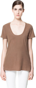 Basic Cotton T Shirt - pattern: plain; length: below the bottom; style: t-shirt; predominant colour: tan; occasions: casual; neckline: scoop; fibres: cotton - 100%; fit: body skimming; back detail: longer hem at back than at front; sleeve length: short sleeve; sleeve style: standard; pattern type: fabric; pattern size: standard; texture group: jersey - stretchy/drapey