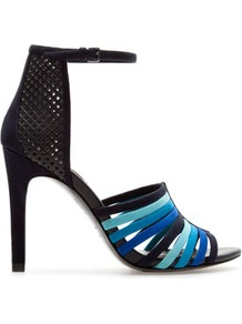 Strappy Sandal With Ankle Straps - predominant colour: diva blue; occasions: evening, work, occasion; material: faux leather; heel height: high; ankle detail: ankle strap; heel: stiletto; toe: open toe/peeptoe; style: strappy; finish: plain; pattern: colourblock