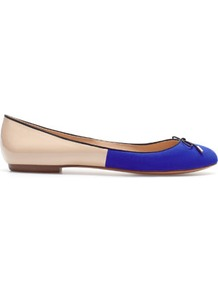 Two Tone Ballerina - predominant colour: royal blue; occasions: casual, work; material: fabric; heel height: flat; toe: round toe; style: ballerinas / pumps; finish: plain; pattern: colourblock