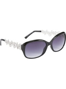 Oval Flower Sunglasses - predominant colour: black; occasions: casual, evening, occasion, holiday; style: square; size: standard; material: plastic/rubber; embellishment: crystals; pattern: two-tone; trends: metallics; finish: metallic