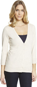 Basics Stretch Cardigan - neckline: low v-neck; pattern: plain; predominant colour: ivory; occasions: casual; length: standard; style: standard; fibres: cotton - mix; fit: slim fit; sleeve length: 3/4 length; sleeve style: standard; pattern type: fabric; texture group: jersey - stretchy/drapey