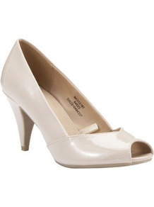 Patent Peep Toe Court Shoes - predominant colour: nude; occasions: casual, evening, work, occasion; material: faux leather; heel height: mid; heel: standard; toe: open toe/peeptoe; style: courts; finish: patent; pattern: plain