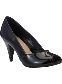 Patent Peep Toe Court Shoes - predominant colour: black; occasions: evening, work, occasion; material: faux leather; heel height: mid; heel: cone; toe: open toe/peeptoe; style: courts; finish: patent; pattern: plain