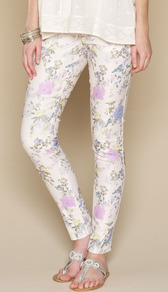 Millicent Floral Print Jeans - style: skinny leg; length: standard; pocket detail: traditional 5 pocket; waist: mid/regular rise; occasions: casual, holiday; fibres: polyester/polyamide - mix; predominant colour: multicoloured; texture group: denim; pattern type: fabric; pattern size: big &amp; busy; pattern: florals