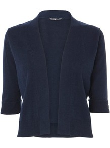 Navy Half Sleeve Viscose Cotton Edge To Edge Cardi - pattern: plain; neckline: collarless open; style: open front; predominant colour: navy; occasions: casual, work; length: standard; fibres: cotton - mix; fit: standard fit; sleeve length: 3/4 length; sleeve style: standard; texture group: knits/crochet; pattern type: knitted - fine stitch; pattern size: standard