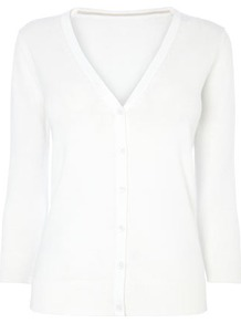 White Cotton Rich V Neck Cardigan - neckline: v-neck; pattern: plain; predominant colour: white; occasions: casual; length: standard; style: standard; fibres: cotton - mix; fit: standard fit; sleeve length: long sleeve; sleeve style: standard; texture group: knits/crochet; pattern type: knitted - fine stitch