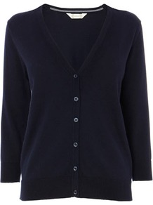 Navy Cotton Rich V Neck Cardigan - neckline: v-neck; pattern: plain; predominant colour: navy; occasions: casual; length: standard; style: standard; fibres: cotton - mix; fit: standard fit; sleeve length: long sleeve; sleeve style: standard; texture group: knits/crochet; pattern type: knitted - fine stitch; pattern size: standard