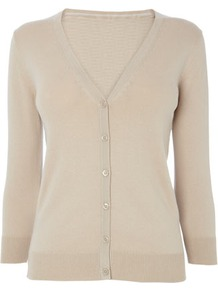 Stone Cotton Rich V Neck Cardigan - neckline: v-neck; pattern: plain; bust detail: buttons at bust (in middle at breastbone)/zip detail at bust; predominant colour: stone; occasions: casual, work; length: standard; style: standard; fibres: cotton - mix; fit: slim fit; sleeve length: long sleeve; sleeve style: standard; texture group: knits/crochet