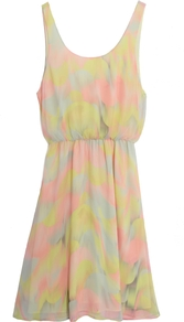 Louise Blouson Tank Dress With Gathered Skirt - sleeve style: sleeveless; waist detail: fitted waist; style: vest; predominant colour: primrose yellow; occasions: casual; length: just above the knee; fit: body skimming; neckline: scoop; fibres: polyester/polyamide - 100%; sleeve length: sleeveless; texture group: sheer fabrics/chiffon/organza etc.; pattern type: fabric; pattern size: standard; pattern: patterned/print