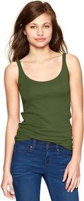Essential Cami - pattern: plain; sleeve style: sleeveless; style: camisole; predominant colour: dark green; occasions: casual; length: standard; neckline: scoop; fibres: cotton - stretch; fit: body skimming; sleeve length: sleeveless; texture group: jersey - clingy