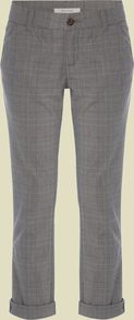Women's Day Tripper Check 7/8 Chino, Brown - pattern: checked/gingham; waist detail: fitted waist; pocket detail: small back pockets, pockets at the sides; waist: mid/regular rise; predominant colour: mid grey; occasions: casual, work, holiday; length: calf length; style: chino; fibres: cotton - stretch; hip detail: fitted at hip (bottoms); jeans & bottoms detail: turn ups; texture group: cotton feel fabrics; fit: slim leg; pattern type: fabric; pattern size: small & light