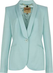 Women's Jayne Tuxedo Suit Jacket, Mint - pattern: plain; style: single breasted blazer; collar: shawl/waterfall; predominant colour: pistachio; occasions: casual, work, occasion; length: standard; fit: tailored/fitted; fibres: viscose/rayon - stretch; sleeve length: long sleeve; sleeve style: standard; trends: tuxedo; collar break: medium; pattern type: fabric; pattern size: standard; texture group: other - light to midweight