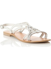 Juicy Multi Strp Leather Sandals, White - predominant colour: silver; occasions: casual, evening, work, holiday; material: leather; heel height: flat; ankle detail: ankle strap; heel: block; toe: open toe/peeptoe; style: strappy; trends: metallics; finish: metallic; pattern: plain; embellishment: pleated