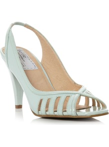 Darcilla Slingback Peep Toe Shoes, Green - predominant colour: pistachio; occasions: evening, work, occasion; material: leather; heel height: high; heel: standard; toe: open toe/peeptoe; style: slingbacks; finish: patent; pattern: plain