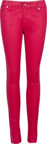 Esstie Skinny Jeans, Pink - style: skinny leg; length: standard; pattern: plain; pocket detail: traditional 5 pocket; waist: mid/regular rise; predominant colour: pink; occasions: casual, evening, holiday; fibres: cotton - stretch; texture group: denim; trends: fluorescent; pattern type: fabric; pattern size: standard