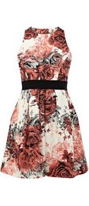 Women's Floral Cotton Dress, Multi Coloured - length: mid thigh; sleeve style: sleeveless; back detail: low cut/open back; predominant colour: terracotta; occasions: evening, occasion, holiday; fit: fitted at waist & bust; style: fit & flare; fibres: cotton - stretch; neckline: crew; hip detail: structured pleats at hip; waist detail: narrow waistband; sleeve length: sleeveless; trends: high impact florals, tuxedo; pattern type: fabric; pattern size: small & busy; pattern: florals; texture group: jersey - stretchy/drapey