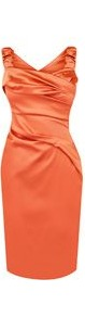 Women's Screen Style Mamma Mia Dress, Coral - style: shift; fit: tailored/fitted; pattern: plain; sleeve style: sleeveless; waist detail: twist front waist detail/nipped in at waist on one side/soft pleats/draping/ruching/gathering waist detail; bust detail: ruching/gathering/draping/layers/pintuck pleats at bust; predominant colour: coral; occasions: evening, occasion; length: just above the knee; fibres: polyester/polyamide - stretch; hip detail: soft pleats at hip/draping at hip/flared at hip; sleeve length: sleeveless; texture group: structured shiny - satin/tafetta/silk etc.; trends: fluorescent; neckline: low square neck; pattern type: fabric; pattern size: standard