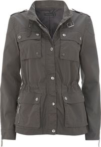Women's Khaki Waxed Biker Jacket, Green - pattern: plain; style: double breasted military jacket; collar: high neck; fit: slim fit; predominant colour: khaki; occasions: casual; length: standard; fibres: cotton - 100%; waist detail: belted waist/tie at waist/drawstring; sleeve length: long sleeve; sleeve style: standard; texture group: cotton feel fabrics; collar break: high; pattern type: fabric; pattern size: standard