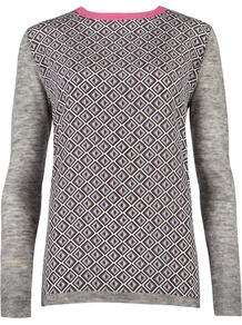 Women's Amberly Geo Print Knit, Grey - neckline: round neck; pattern: plain; style: standard; predominant colour: light grey; occasions: casual, work; length: standard; fibres: wool - mix; fit: slim fit; sleeve length: long sleeve; sleeve style: standard; texture group: knits/crochet; pattern type: knitted - fine stitch; pattern size: standard