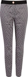 Women's Rosaro Geo Printed Trouser, Grey - length: standard; waist: mid/regular rise; predominant colour: light grey; occasions: casual, evening, work; fibres: cotton - stretch; fit: slim leg; pattern type: fabric; pattern size: small & light; pattern: patterned/print; texture group: other - light to midweight; style: standard