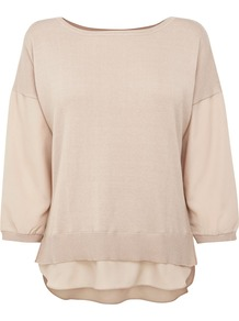 Women's Mixed Fabric Sweater, Cream - neckline: slash/boat neckline; pattern: plain; style: standard; predominant colour: stone; occasions: casual, evening, work; length: standard; fibres: polyester/polyamide - 100%; fit: slim fit; sleeve length: 3/4 length; sleeve style: standard; texture group: knits/crochet; pattern type: knitted - fine stitch; pattern size: standard