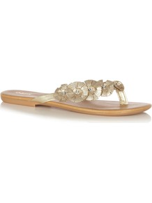 Diamante Flower Toepost Sandals, Gold - predominant colour: gold; occasions: casual, holiday; material: faux leather; heel height: flat; embellishment: crystals; heel: standard; toe: toe thongs; style: flip flops / toe post; trends: metallics; finish: metallic; pattern: plain