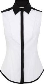Women's Colurblock Cotton Shirt, White - neckline: shirt collar/peter pan/zip with opening; pattern: plain; sleeve style: sleeveless; style: shirt; bust detail: ruching/gathering/draping/layers/pintuck pleats at bust; predominant colour: white; occasions: casual, evening, work, holiday; length: standard; fibres: cotton - mix; fit: body skimming; sleeve length: sleeveless; texture group: cotton feel fabrics; pattern type: fabric; pattern size: standard