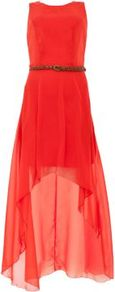 Orange Belted Dip Hem Dress - neckline: round neck; fit: fitted at waist; pattern: plain; sleeve style: sleeveless; style: blouson; waist detail: belted waist/tie at waist/drawstring; predominant colour: bright orange; occasions: evening, occasion; length: just above the knee; fibres: polyester/polyamide - stretch; back detail: longer hem at back than at front; sleeve length: sleeveless; texture group: sheer fabrics/chiffon/organza etc.; trends: fluorescent; pattern type: fabric; pattern size: standard