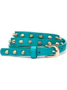 Turquoise Stud Skinny Belt - predominant colour: turquoise; occasions: casual, evening, holiday; type of pattern: standard; style: classic; size: skinny; worn on: waist; material: faux leather; embellishment: studs; pattern: plain; finish: plain