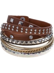 Brown And Silver Mixed Stud Bangle Stack - predominant colour: chocolate brown; occasions: casual, holiday; style: bangle; size: large/oversized; material: leather; finish: plain; embellishment: studs