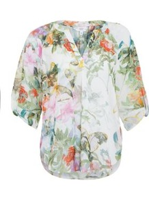White Floral Granddad Collar Shell Top - neckline: mandarin; style: blouse; predominant colour: white; occasions: casual, holiday; length: standard; fibres: polyester/polyamide - 100%; fit: loose; sleeve length: half sleeve; sleeve style: standard; texture group: cotton feel fabrics; pattern type: fabric; pattern size: small & busy; pattern: florals